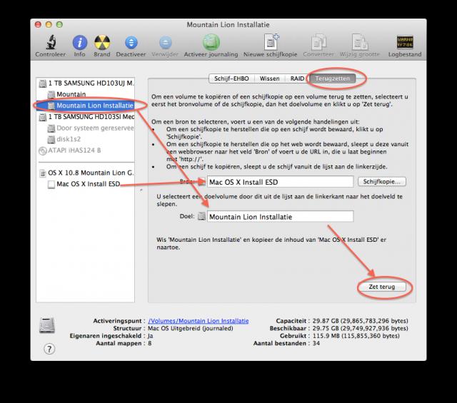 Bootable usb dvd externe hdd installatie maken van os x 10 8 mountain lion - Externe verwijderbare partitie ...