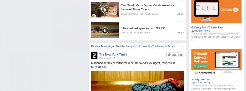 Facebook speelt video's tijdens scrollen door tijdlijn
