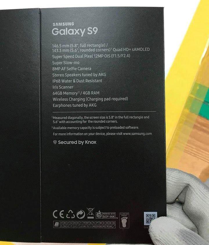 Samsung Galaxy S9-verpakking