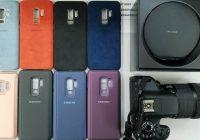 Foto toont cases en Qi-lader voor Samsung Galaxy S9+