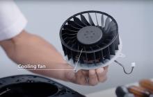 Grote formaat PlayStation 5 veroorzaakt door enkele fan, stofvanger geïmplementeerd
