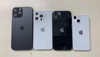 Foto toont ontwerp van iPhone 13 (Mini) en iPhone 13 Pro (Max)